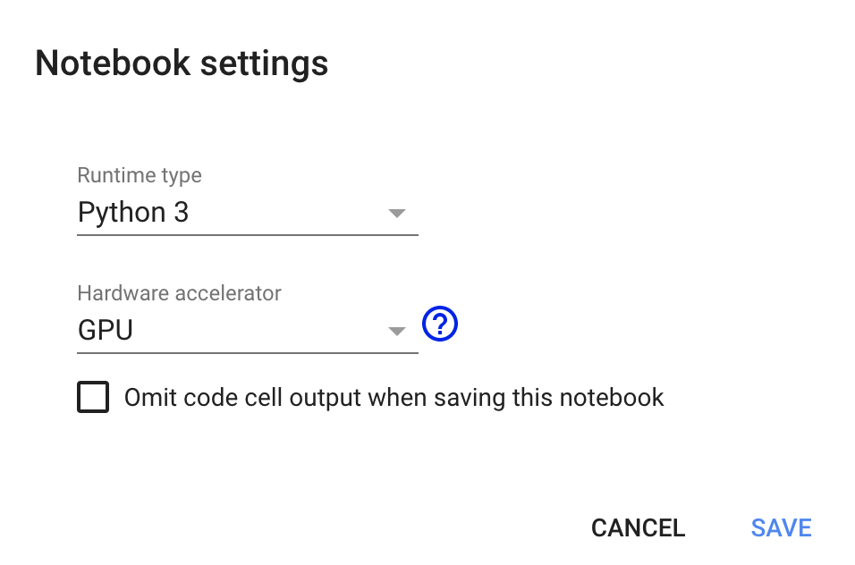 Google Colab Notebook Settings