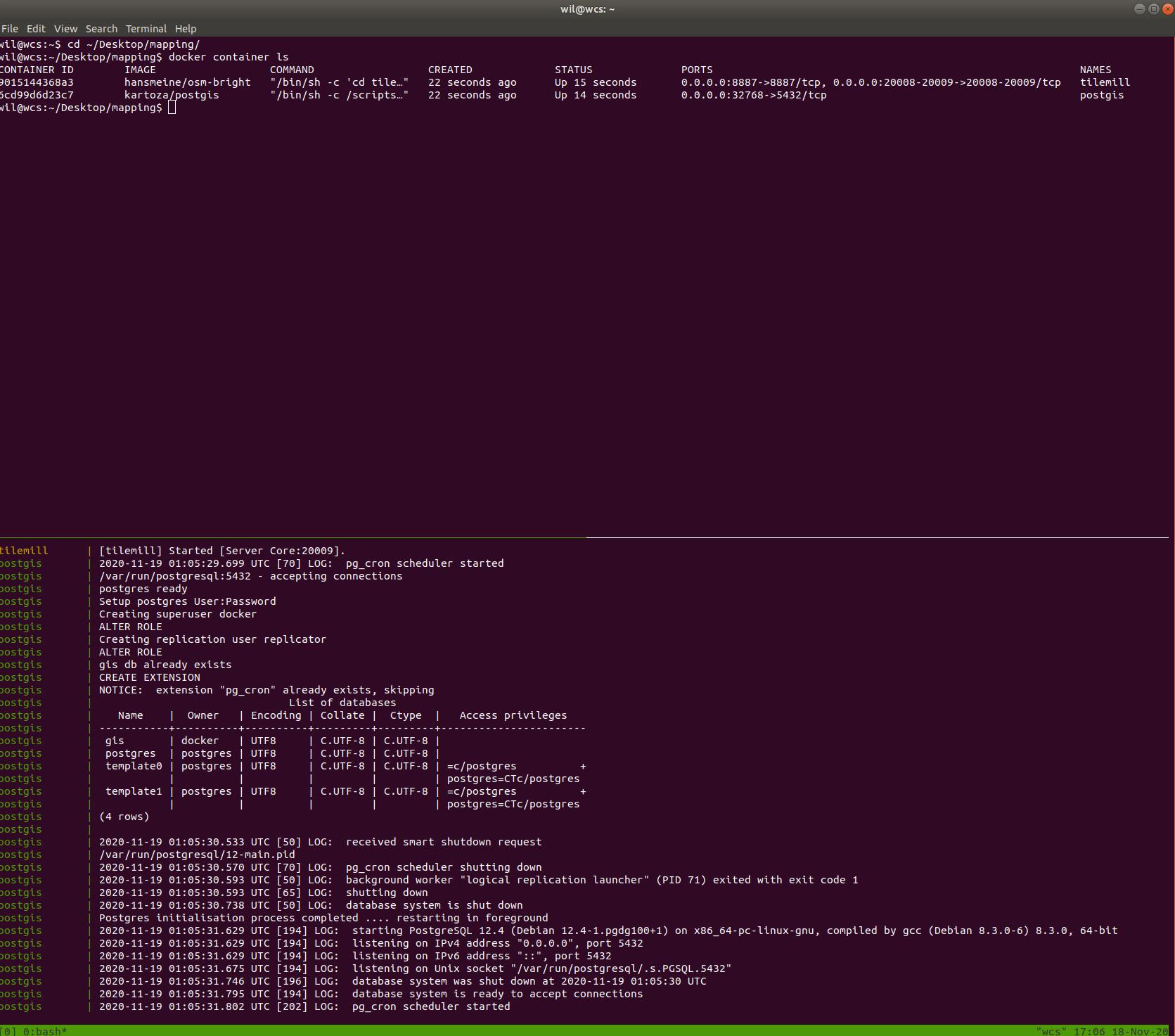 Tilemill and PostGIS Docker Compose