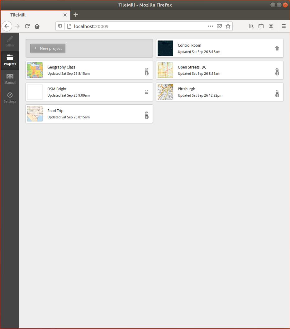 Tilemill New Project GUI